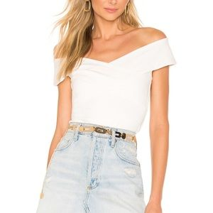 Superdown off the shoulder white top